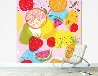 Seamless background with fruit design