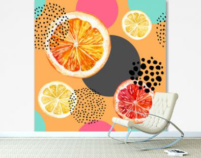 Watercolor fresh orange, grapefruit and colorful circles seamless pattern.