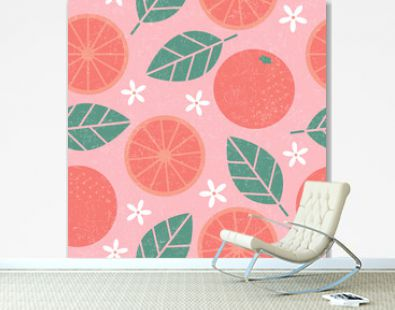 Seamless pattern. Pink grapefruit juicy fruits leaves and flowers on shabby background.