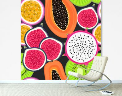 Vector seamless pattern with tropical fruits. Healthy dessert. Fruity background. Dragon fruit, kiwi, passionfruit, fig, papaya. Wrapping, exotic food market advertisement, wallpaper, summer banner