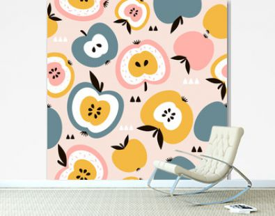 Apples background. Hand drawn overlapping backdrop. Colorful wallpaper vector. Seamless pattern with fruits collection. Decorative illustration, good for printing. Design poster