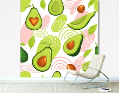 Seamless pattern with avocado fruits and abstract elements. Creative floral collage. Vector texture for textile, scrapbooking, wrapping paper, packaging etc. Vector illustration on white background.