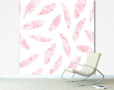 Hand painted vector feathers seamless pattern on white background. Textured pink boho decoration. Pastel ornament for wrapping paper, fabrics and textile.