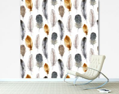 Watercolor easter bird feather seamless pattern. Hand painted orange, blue, striped and polka dot feathers isolated on white background. Wildlife illustration for design, print, fabric or background.