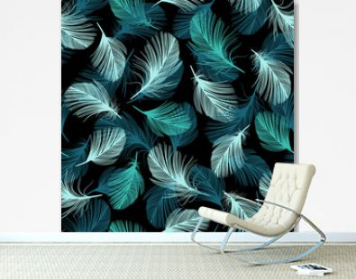 Seamless pattern with hand-drawn feathers.