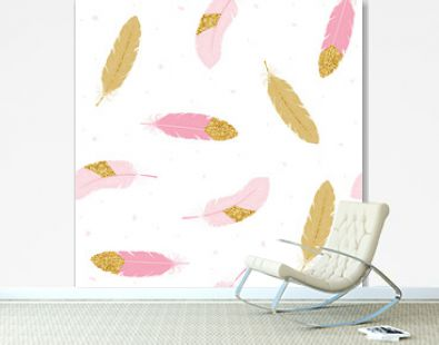 Cute seamless pattern with pink and gold feathers. Vector hand drawn illustration.