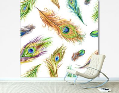 Peacock feather seamless pattern on white background, bright watercolor print for fabric and other designs.
