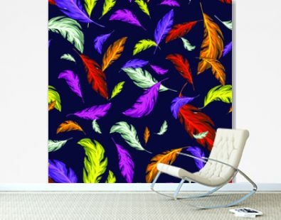 bright leaves or feathers. Seamless pattern hand-drawing with neon leaves.For textiles, packaging, fabrics, wrappers