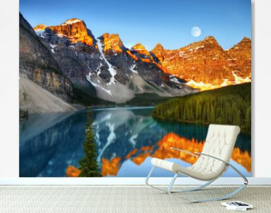 Moraine lake in the mountains at sunrise Banff National Park Alberta Canada