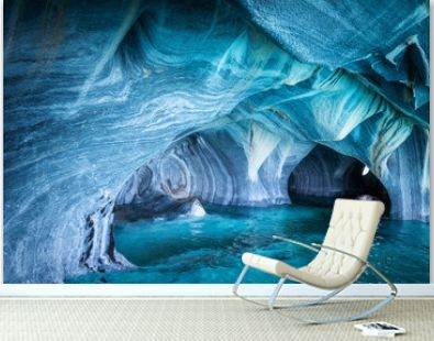 The Marble Caves (Spanish: Cuevas de Marmol ), a series of naturally sculpted caves in the General Carrera Lake in Chile, Patagonia, South America.