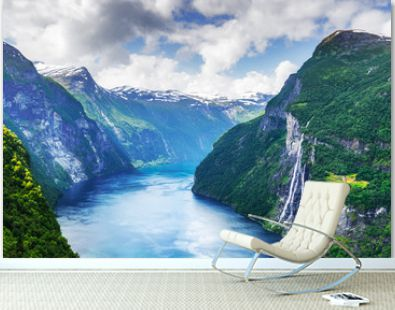 Breathtaking view of Sunnylvsfjorden fjord and famous Seven Sisters waterfalls, near Geiranger village in western Norway. Landscape photography