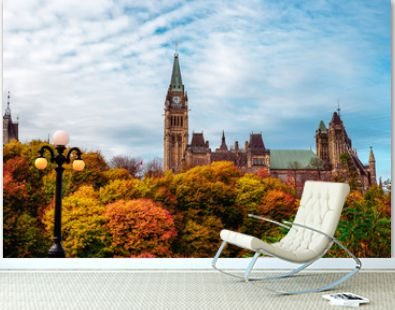 Wide Shot of Fall Foliage in Front of Canadian Parliament Building