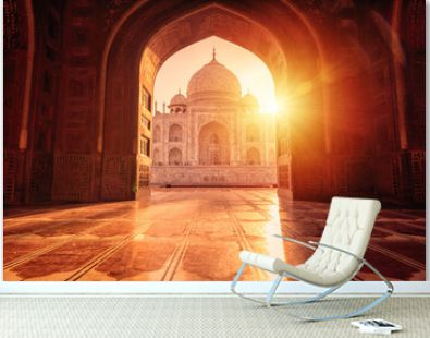 The magnificent Taj Mahal in India shows its full splendor at a glorious sunrise.