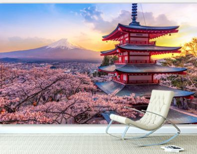 Fujiyoshida, Japan Beautiful view of mountain Fuji and Chureito pagoda at sunset, japan in the spring with cherry blossoms