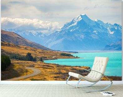 Mount cook viewpoint with the lake pukaki and the road leading to mount cook village inewpoint with the lake pukaki and the road leading to mount cook village in South Island New Zealand.