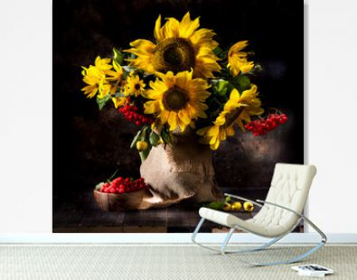 Still life with sunflowers in a vase