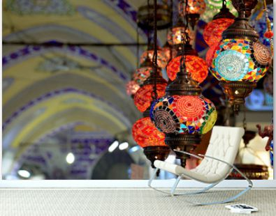 Colorful lamps hanging at the Grand Bazaar in Istanbul.