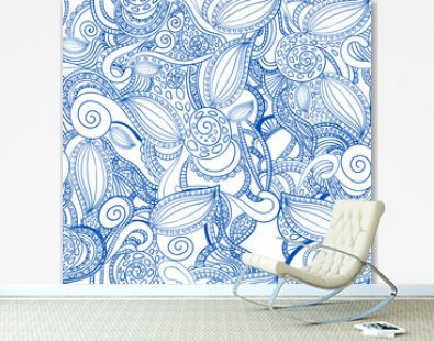 Seamless VECTOR doodle pattern, blue on white.