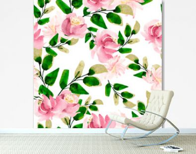 Bright watercolor pattern with leaves. Illustration