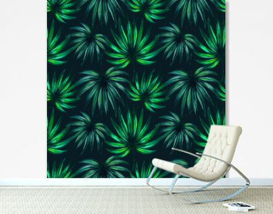 Watercolor dense jungle seamless pattern. Dark green tropical plant leaves hand drawn. Summer creative floral background with rain forest vegetation. Fashion print texture, wallpaper design, banner
