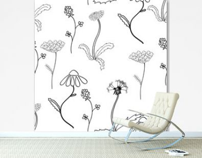 Seamles pattern with meadow flower