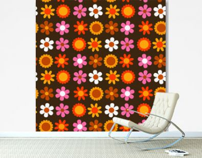 seamless pattern with simple flowers in the style of the 70