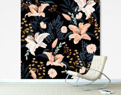Lily flower seamless pattern on black background with floral, White lily floral vector illustration