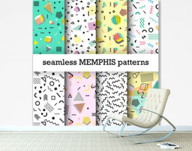 Retro vintage 80s or 90s fashion style. Memphis seamless patterns set. Trendy geometric elements. Modern abstract design. Good for textile fabric. Vector illustration.