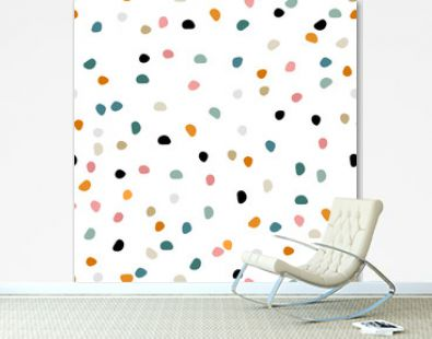 Semless hand drawn pattern with colorful dots. Abstract childish texture for fabric, textile, apparel. Vector illustration