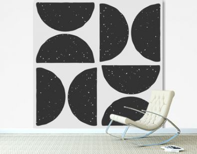 Abstract geometric seamless pattern with semi circle shapes in block print style