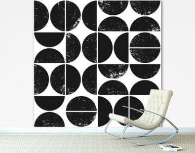Vector geometric seamless pattern with semicircles. Abstract grunge background.