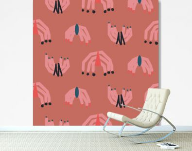 Abstract shapes modern seamless pattern coral red colors. Hand drawn rough archs repeat background for wrap, textile and print design.