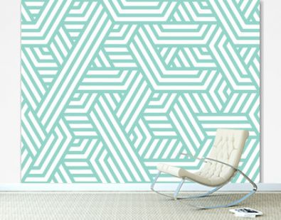 Abstract stripes, line vector seamless pattern. Neutral monochrome business background, turquoise white color. Linear blue shapes, creative geometric ornament