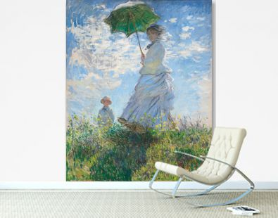 Woman with a Parasol, Madame Monet and Her Son 1875 by Claude Monet