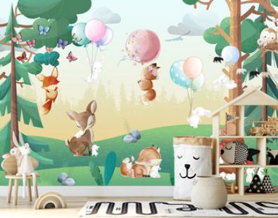 Children's wallpaper. Cute animals in the forest.