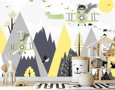 Children's wallpaper. Animals fly on airplanes against the background of mountains.