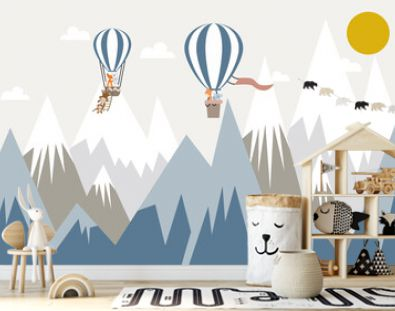 Children's wallpaper. Animals on balloons against the background of mountains.