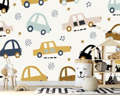 Kids handdrawn seamless pattern with colorful cars
