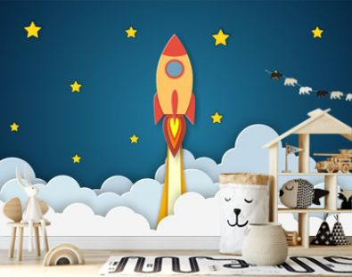 Rocket for startup business project. Paper cut startup poster template with space rocket. Concept business idea, startup, exploration. flyers, banners, posters and templates design.