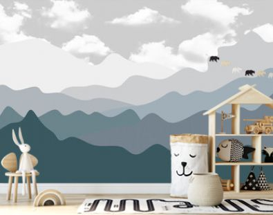 hand-drawn mountainhand-drawn mountains, hand-drawn landscape with cloudss with bunnies on balloons