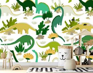 Dinosaurs and plants. Background seamless pattern for kids boys. Cute cartoon dinosaurs on white background. Vector