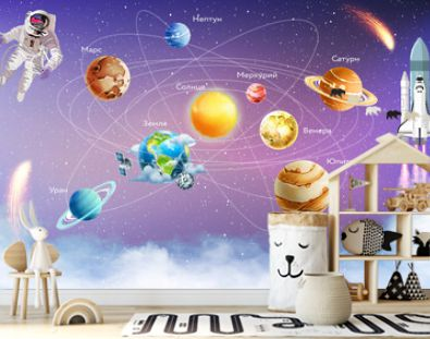 Children's wallpaper. The planets of the solar system. Astronaut in space