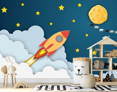 Rocket launch to the Moon.Paper cut startup poster template with space rocket. Concept business idea, startup, exploration. flyers, banners, posters and templates design.
