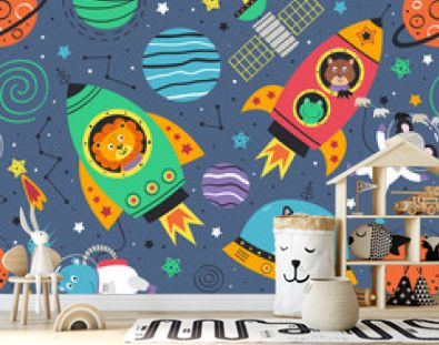 seamless pattern with space animals in rockets.Lion,hippo,koala,raccoon, monkey, frog and squirrel in space - vector illustration, eps