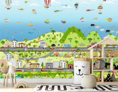 children's city with cars and motorcycles. City Wallpaper for children.