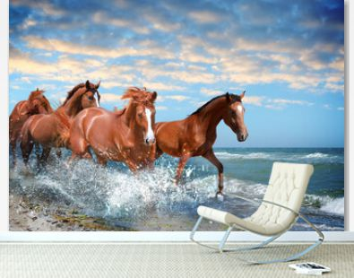 Beautiful horses running on beach through sea water