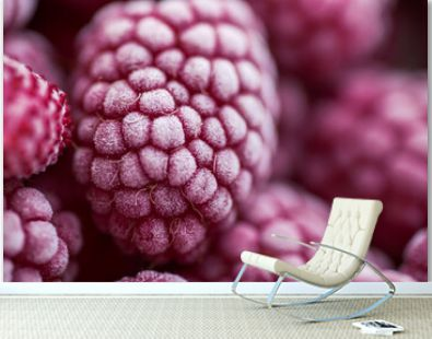 Ripe frozen raspberries close-up macro photography, selective focus, fruit background