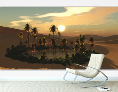 Oasis in the sand desert, lake in the sands with palm trees on the shore, reservoir in the desert with palm trees, 3D rendering