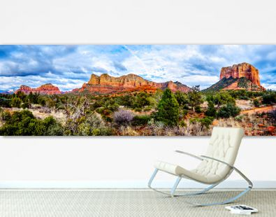Panorama of the red rock mountains of the Munds Mountain Wilderness and Courthouse Butte near Sedona in Northern Arizona in Coconino National Forest in the United States