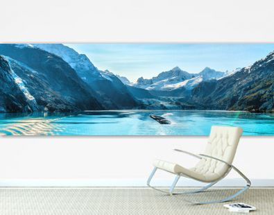 Alaska luxury cruise travel panoramic. Scenery landscape panorama with humpback whale composite breaching out of waters on glacier bay background.